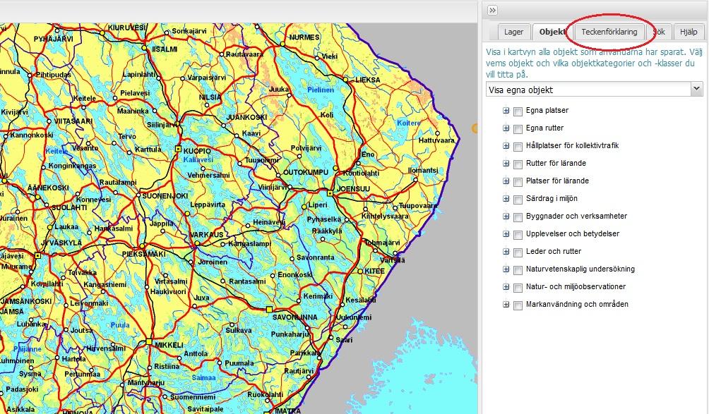 Du får fram teckenförklaringen för olika kartmaterial genom att välja fliken Teckenförklaringar längst uppe i karttjänstens högra panel.